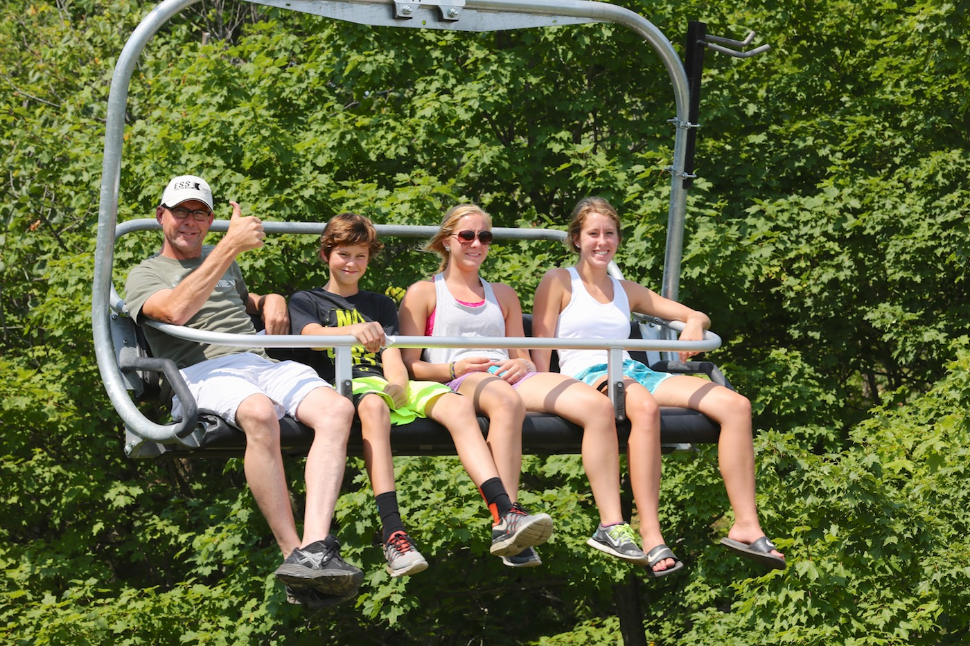 Family of 4 on our Summer chairlift