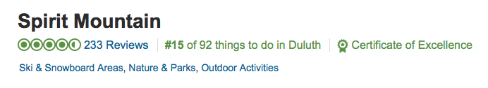 Our rating of 15 out of 92 things to do in Duluth and certificate of excellence