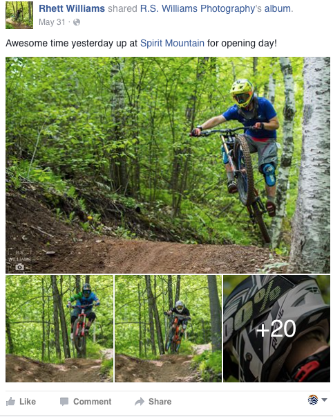 Rhett Williams facebook Post of his awesome time at Spirit Mountain. Man on Bike in the air