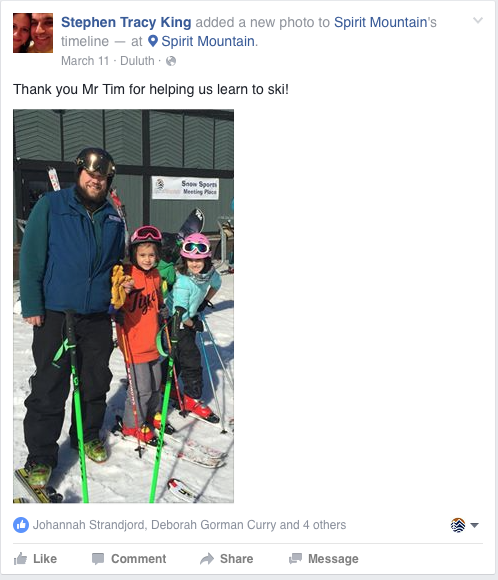 Stephen Tracy King's Facebook Post of our ski instructor and two children