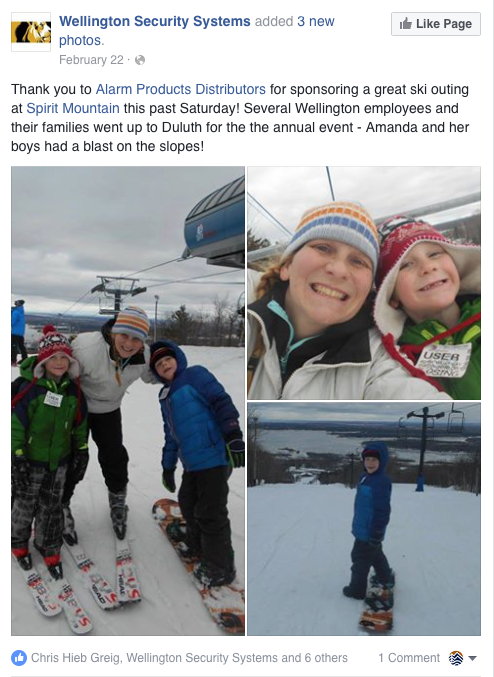 A Facebook Post from Wellington Security Systems posted 3 photos of a family skiing and Boarding