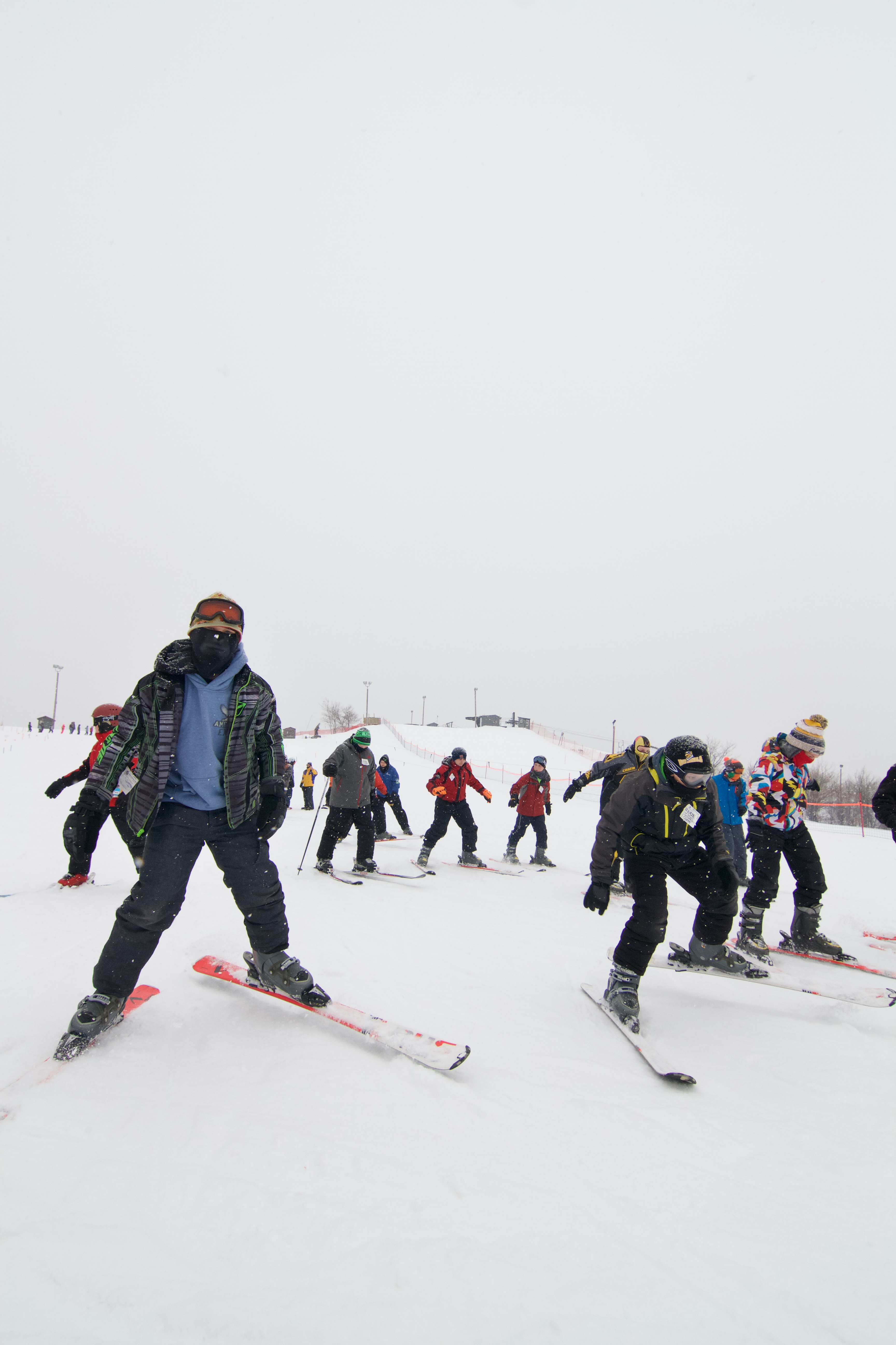 Group of kids learning to ski