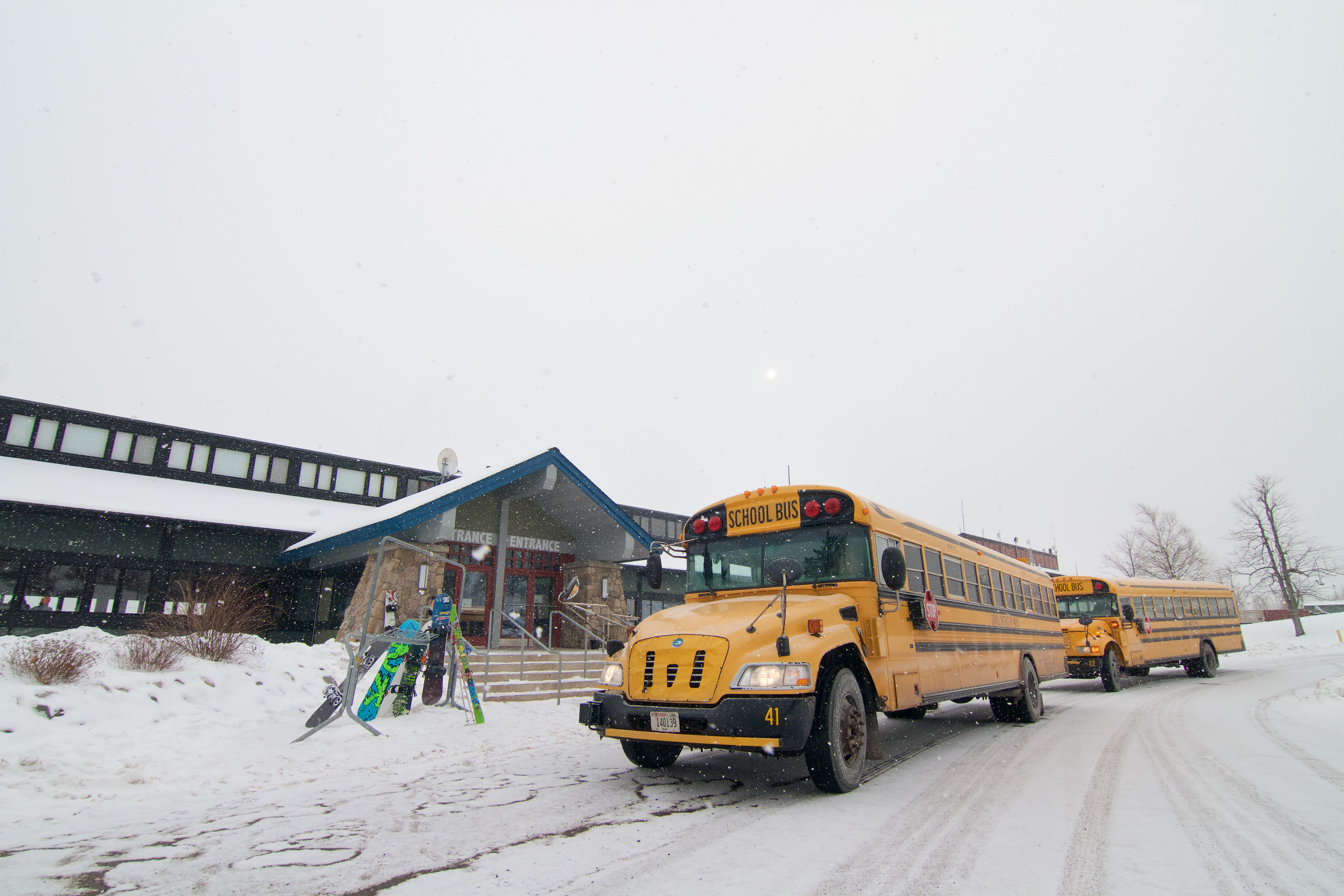 School Buses Parked Outside the main Chalet