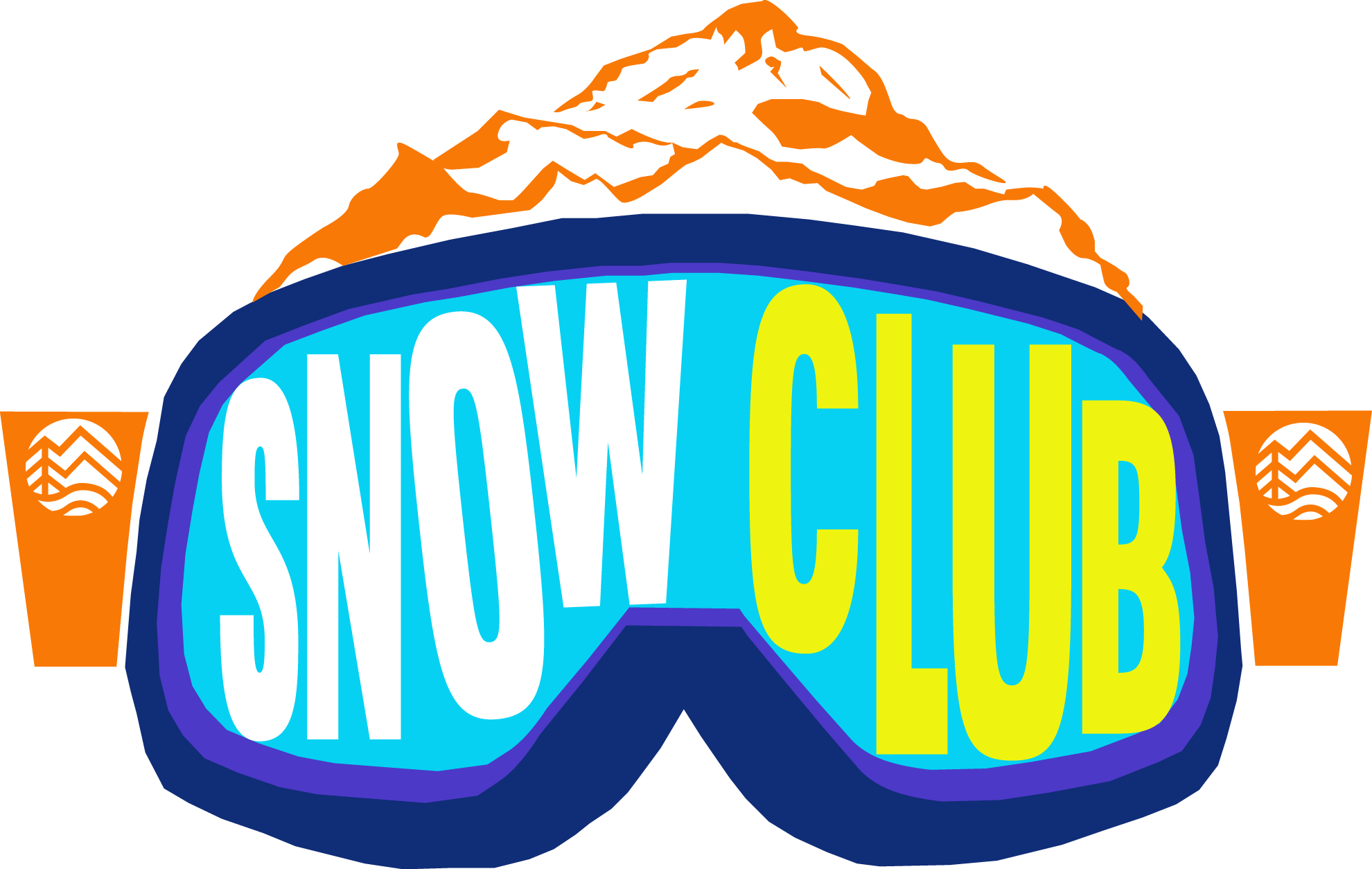 snow club logo and goggles